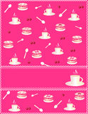 Pink invitation with a cup of coffee and cake. Pink card with many cups of coffee and cakes Royalty Free Stock Images