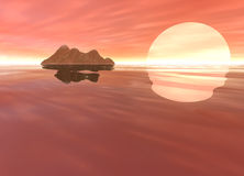 Pink Island Skyscape Land Mountain in Distance. And Large Sun Setting Stock Photos