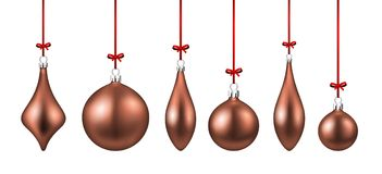 Pink isolated Christmas balls set. Stock Images