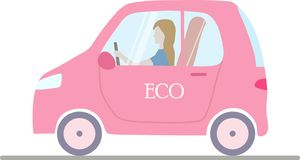 A pink isolated eco;ogical electric car with a woman. royalty free illustration