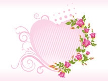 Pink isolated heart shape frame with rose Stock Image