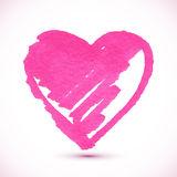 Pink isolated marker painted textured heart Royalty Free Stock Image