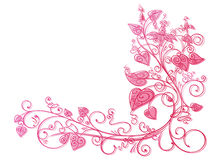 Pink ivy lace background. Graphic pink ivy with flowers lace background Stock Image