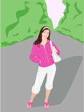 Pink jacket. Young girle in pink jacket in a park Stock Photography