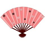 Pink japanese hand fan with flowers. Pink japanese hand fan with small black and white flowers, vector image, clipart Royalty Free Stock Photos
