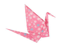 Pink Japanese paper craft origami bird Royalty Free Stock Image