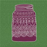 Pink jar with doodle lace Royalty Free Stock Photos