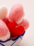 Pink jellies or marshmallows with sugar in bowl Stock Images
