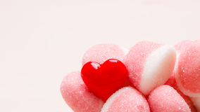 Pink jellies or marshmallows with sugar closeup Royalty Free Stock Photography