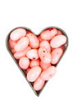 Pink jelly beans in a heart shape Royalty Free Stock Photo