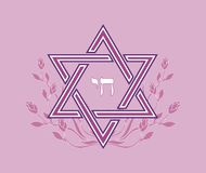 Pink jewish star design -vector illustration Royalty Free Stock Photos