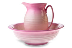 Pink jug and bowl Royalty Free Stock Photography