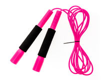 Pink jump rope or skipping rope isolated on white background. Sports, fitness, cardio, martial art and boxing accessories stock photo