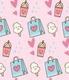 Pink kawaii background with gift bag and cotton candy stock illustration