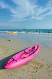 Pink kayak on beachGreat Rayong beach Royalty Free Stock Image