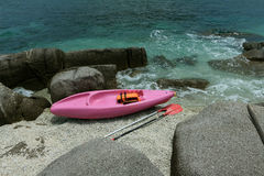 Pink kayak on coral beach Royalty Free Stock Image