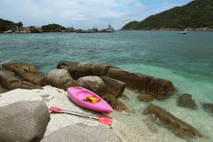 Pink kayak on coral beach Stock Image