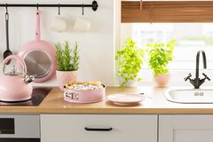 Pink kettle and cake on wooden countertop in bright kitchen inte stock photo