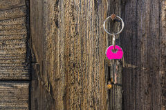 Pink key hanging on rustic nail. Wooden wall and pink home keys Royalty Free Stock Photos