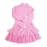 Pink kid dress with long sleeves Stock Image