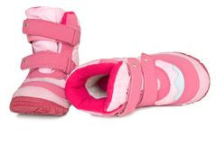 Pink kid's warm boots. Royalty Free Stock Images