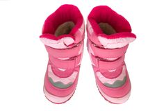 Pink kid's warm boots. Royalty Free Stock Photo