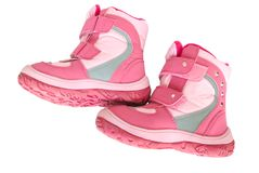 Pink kid's warm boots. Royalty Free Stock Image