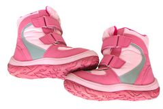 Pink kid's warm boots. Stock Images