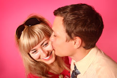 Pink kissing Stock Photos