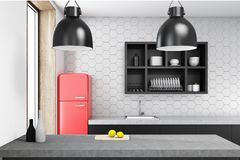 Pink Kitchen, Black Counter, Cooker Stock Photo