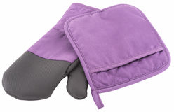 Pink kitchen glove and towel Stock Photography