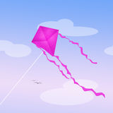Pink kite in the sky. Illustration of pink kite in the sky Royalty Free Stock Photos