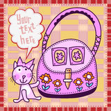 Pink kitten and huge bag Royalty Free Stock Photography