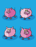 Pink kittens cartoon Stock Image
