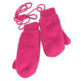 Pink knit wool mittens Stock Photos