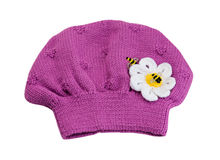 Pink knitted hat beret. Royalty Free Stock Photos