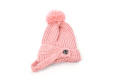 Pink knitted hat with pompom isolated on white background Royalty Free Stock Photo