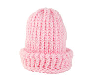 Pink Knitted Stocking Hat Isolated Stock Images