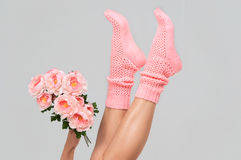 Pink knitted womens socks Stock Photos