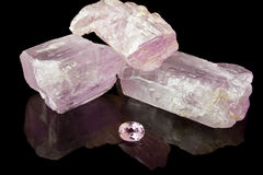 Pink Kunzite Rough And Gem Royalty Free Stock Images