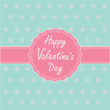 Pink label and ribbon. Happy Valentines Day card. Stock Photos