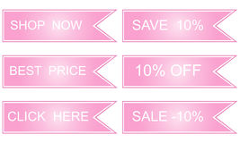 Pink labels, best price,. Click here save 10 Stock Photo