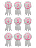 Pink labels with numbers Stock Photography