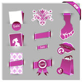 Pink labels for women shop Stock Image