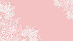Pink lace background. Template greeting card or invitation with flowers in the corners. Stock Photography