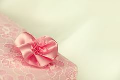 Pink lace gift box Stock Images