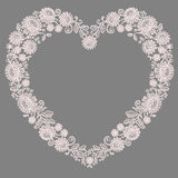 Pink Lace. Heart Shape Frame. Stock Photos