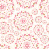 Pink Lace. Seamless pink pattern. Flower circular background. Bright buds. Royalty Free Stock Photo
