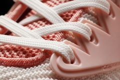 Pink lace woman shoes close-up stock image