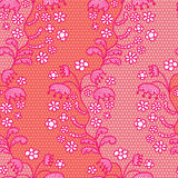 Pink lace vector fabric seamless pattern Stock Photography